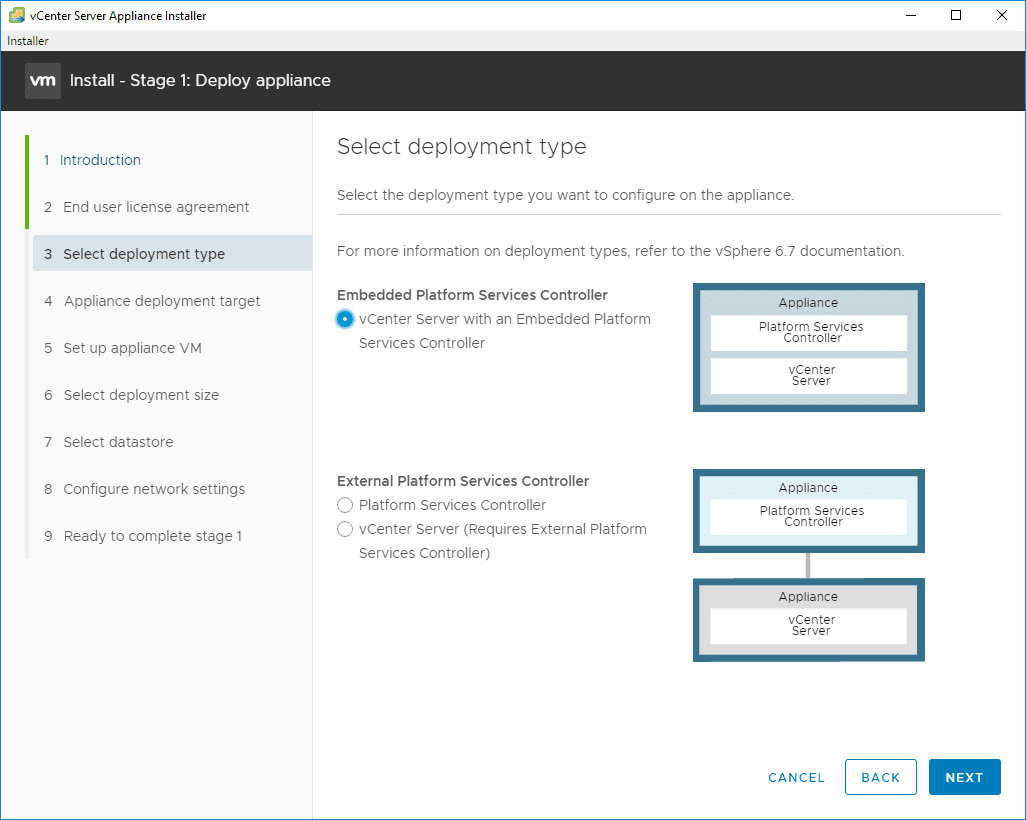 Select-the-deployment-type-for-VCSA-6.7 VMware VCSA 6.7 New Features Installation and Configuration