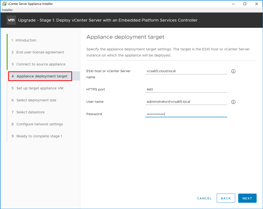 Specify-the-VCSA-6.7-appliance-deployment-target Upgrading to VMware vCenter Server VCSA 6.7