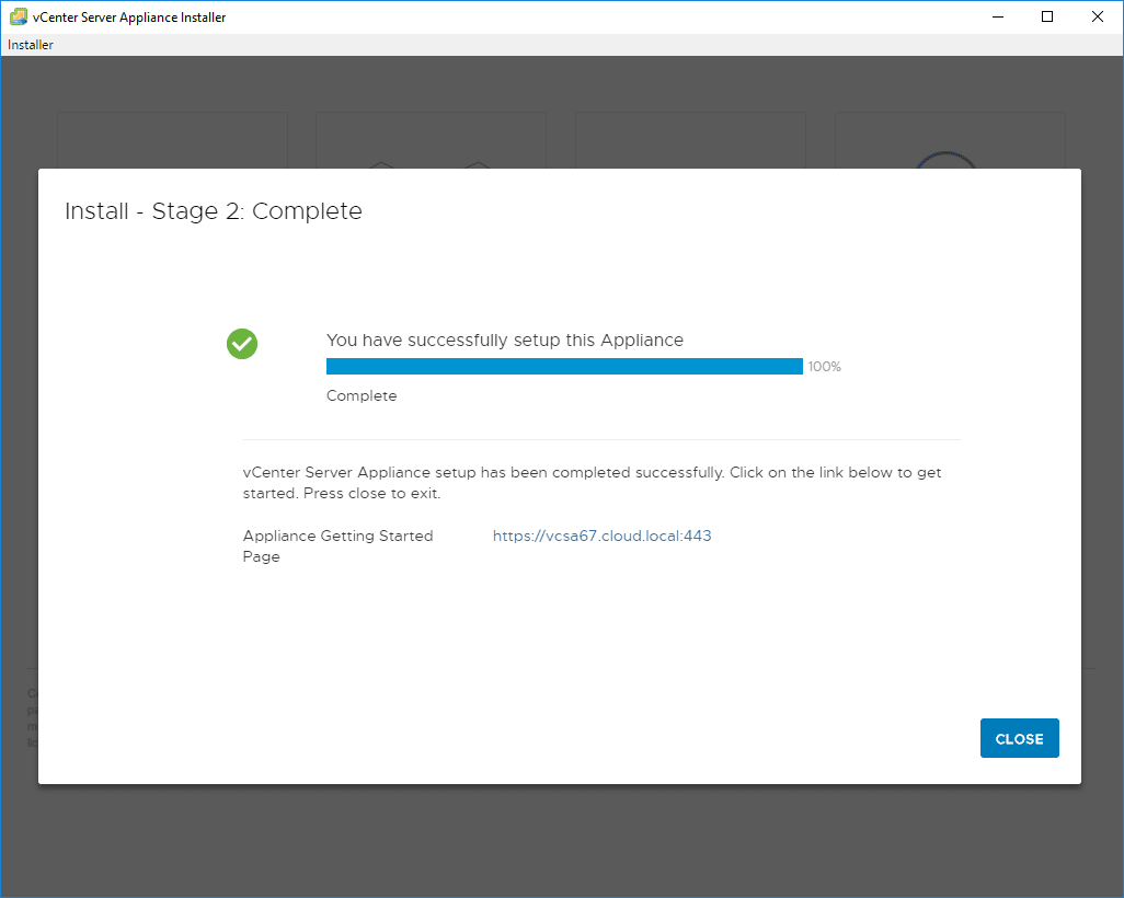 Stage-2-configuration-of-the-VCSA-6.7-appliance-completes VMware VCSA 6.7 New Features Installation and Configuration