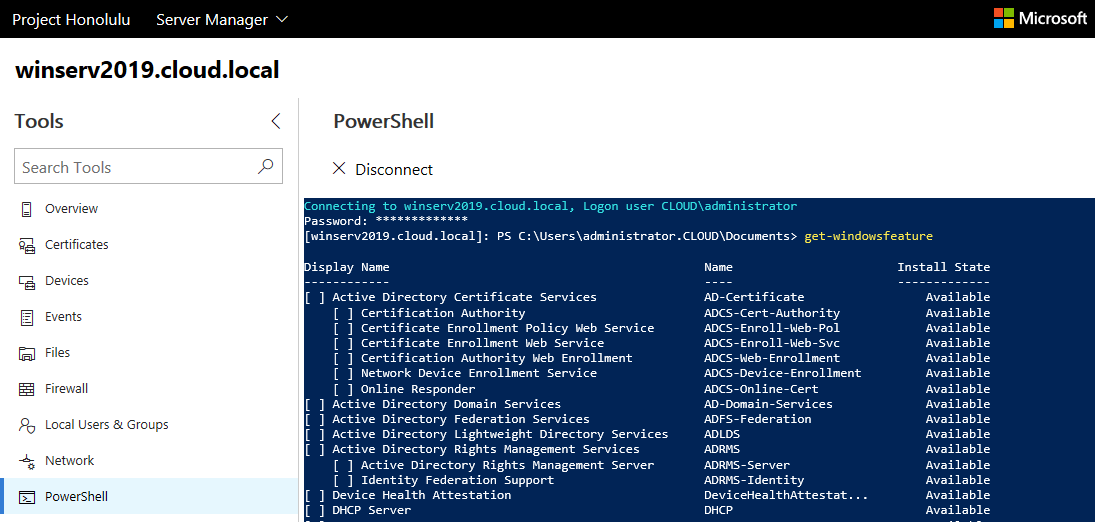 Use-Microsoft-Edge-to-connect-to-Project-Honolulu-PowerShell Windows Server 2019 Installing Roles and Features with Project Honolulu PowerShell