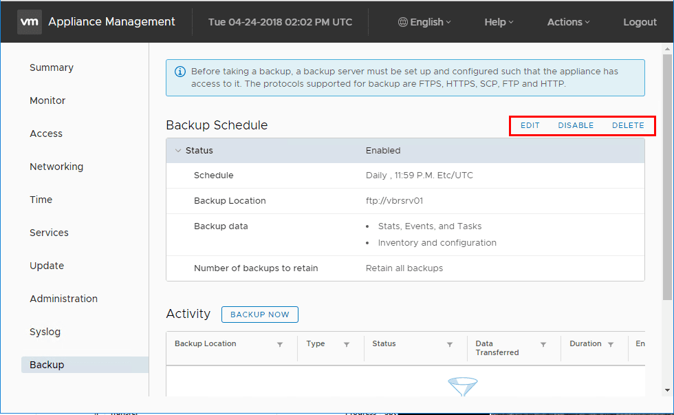 VCSA-6.7-Backup-Schedule-options-to-Edit-Disable-or-Delete-a-schedule VMware vCenter Server VCSA 6.7 Backup Schedule Feature Configuration