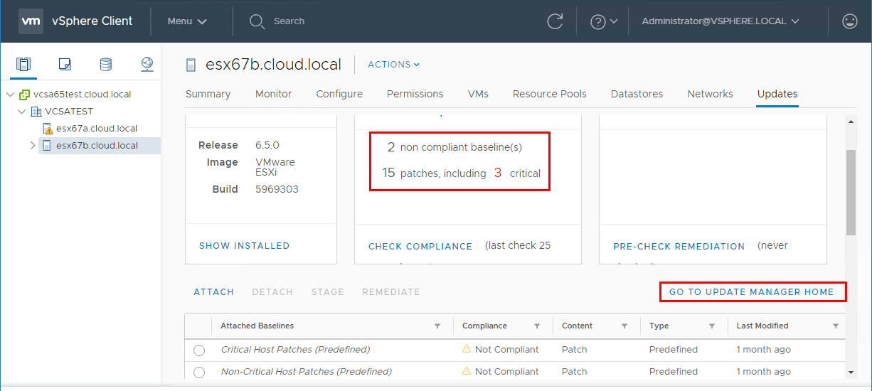 Viewing-compliance-scan-results-in-HTML5-VUM-in-vSphere-6.7