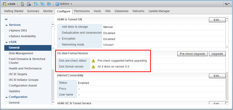 After-upgrading-the-ESXi-hosts-to-6.7-the-on-disk-format-can-now-be-upgraded Upgrading VMware vSphere vSAN 6.6 to 6.7
