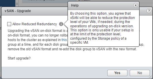 Allow-reduced-redundancy-infomation Upgrading VMware vSphere vSAN 6.6 to 6.7