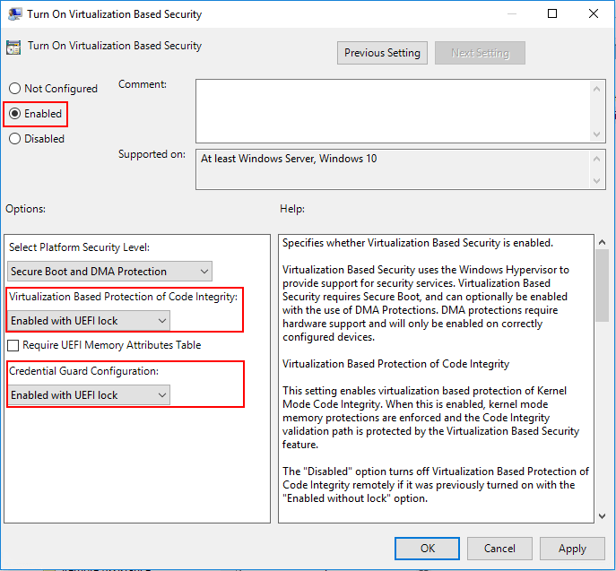 Enabling-Virtualization-Based-Security-via-group-policy-in-Windows-10-Pro-1803 Enabling Windows 10 Virtualization Based Security with vSphere 6.7