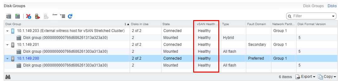 Making-sure-vSAN-disk-groups-all-show-as-healthy Upgrading VMware vSphere vSAN 6.6 to 6.7