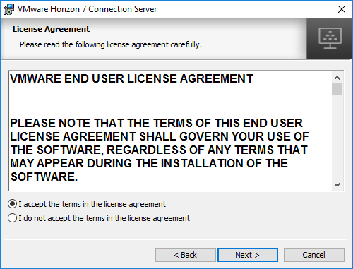 Accept-the-Horizon-7.5-Connection-Server-EULA-during-install Installing VMware Horizon 7.5 Connection Server