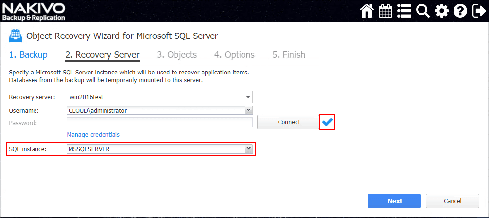 After-making-a-successful-SQL-Server-2017-connection SQL Server 2017 Instant Object Recovery with NAKIVO Backup and Replication