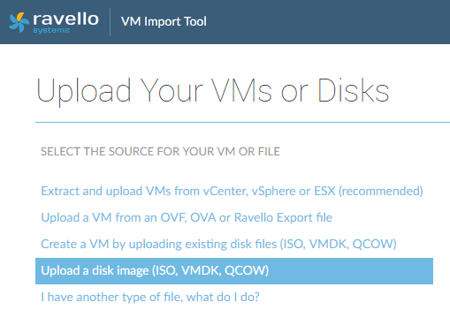 Choosing-Upload-a-Disk-Image-to-upload-ESXi-6.7-ISO Installing VMware vSphere ESXi 6.7 in Ravello Cloud Service