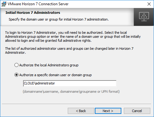 Configure-Horizon-7.5-Administrators-during-installation Installing VMware Horizon 7.5 Connection Server
