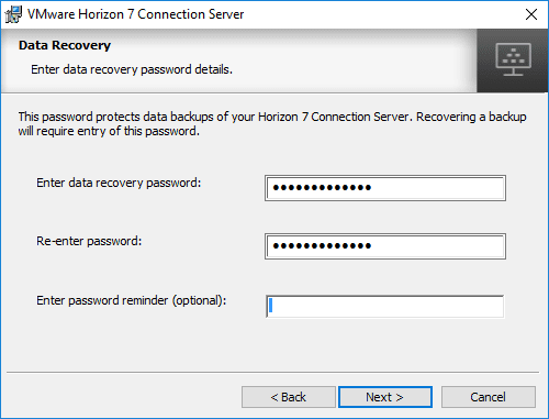 Configuring-a-Data-Recovery-Password-Horizon-7.5-Connection-Server Installing VMware Horizon 7.5 Connection Server