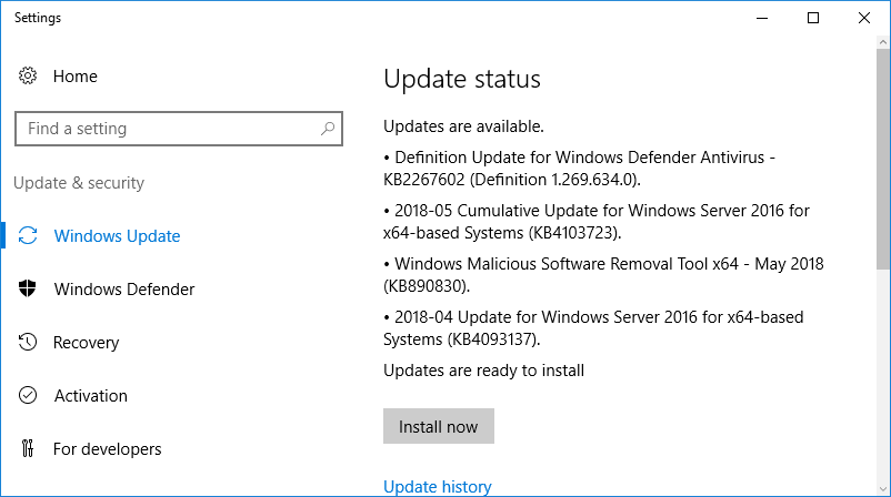 Patching-Windows-Server-2016-for-Horizon-7.5-Installation Installing VMware Horizon 7.5 Connection Server