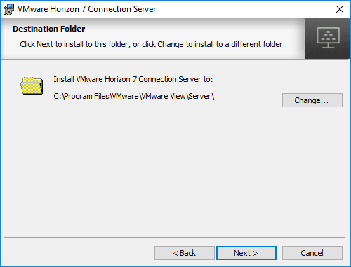 Select-the-Horizon-7.5-Connection-Server-Destination-Folder-during-install Installing VMware Horizon 7.5 Connection Server