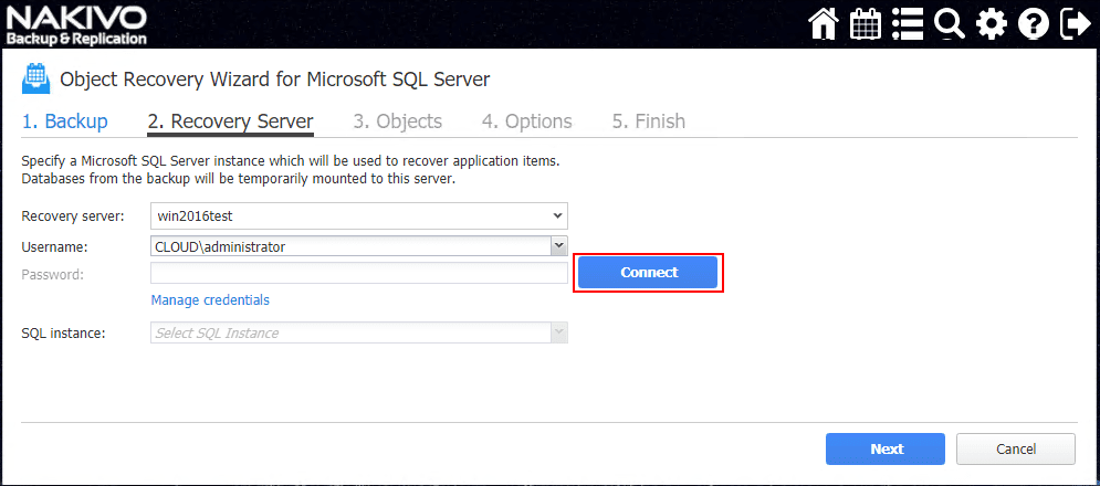 Select-the-SQL-Server-credentials-and-SQL-instance-to-restore-to SQL Server 2017 Instant Object Recovery with NAKIVO Backup and Replication