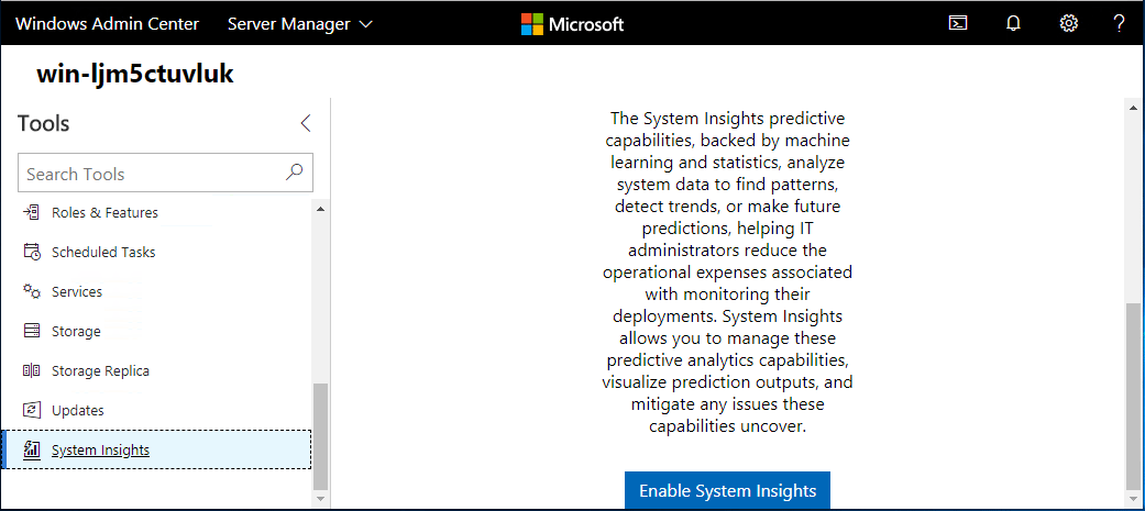 Windows-Server-System-Insights-is-now-available-under-Tools Windows Server System Insights Predictive Analytics Installation and Features