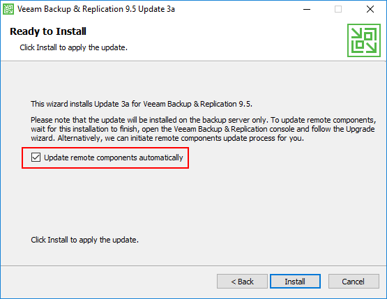 Choosing-to-update-remote-components-automatically Veeam Backup and Replication 9.5 Update 3a with VMware vSphere 6.7 Support
