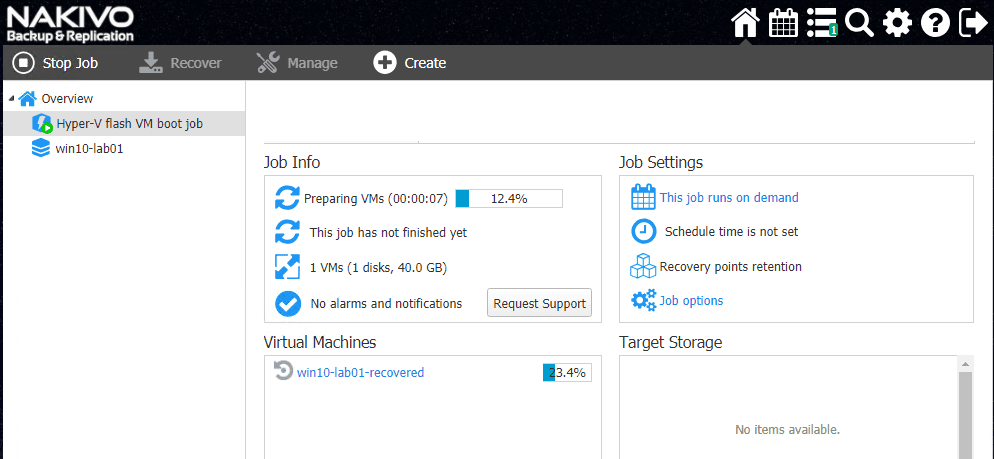 Kicking-off-the-Hyper-V-Flash-VM-Boot-Recovery-Job Hyper-V Instant VM Recovery with NAKIVO Backup and Replication