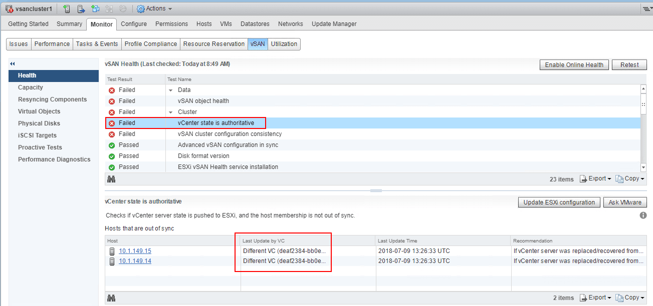 Update-ESXi-configuration-with-Different-VC-failure Move VMware vSAN 6.7 Stretched Cluster to Different vCenter Server