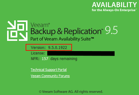 Veeam-Backup-Replication-9.5-Update-3a-Version-Number Veeam Backup and Replication 9.5 Update 3a with VMware vSphere 6.7 Support