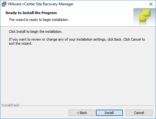 After-choosing-configuration-parameters-beginning-the-actual-installation-of-SRM Installing VMware vCenter Site Recovery Manager SRM 8.1