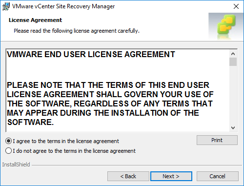 Agree-to-the-EULA-during-Site-Recovery-Manager-installation Installing VMware vCenter Site Recovery Manager SRM 8.1