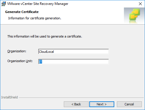 Certificate-identification-information-configuration Installing VMware vCenter Site Recovery Manager SRM 8.1