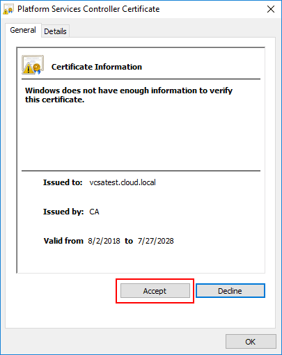 Certificate-trust-prompt-connecting-to-platform-services-controller Installing VMware vCenter Site Recovery Manager SRM 8.1