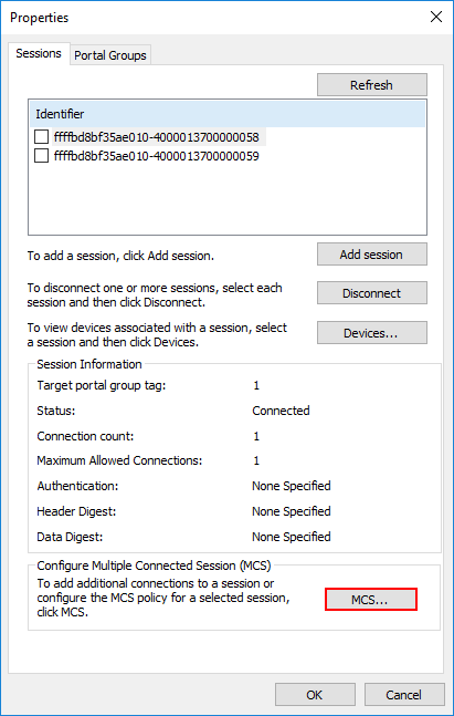 Configuring-Multiple-Connected-Session Hyper-V Cluster MPIO iSCSI Installation and Configuration