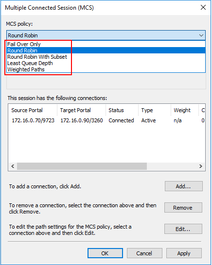 Configuring-the-MCS-policy-for-Hyper-V-MPIO-connections Hyper-V Cluster MPIO iSCSI Installation and Configuration