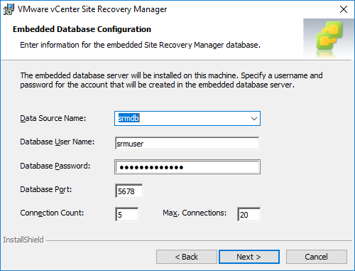 Embedded-database-configuration-during-Site-Recovery-Manager-installation Installing VMware vCenter Site Recovery Manager SRM 8.1