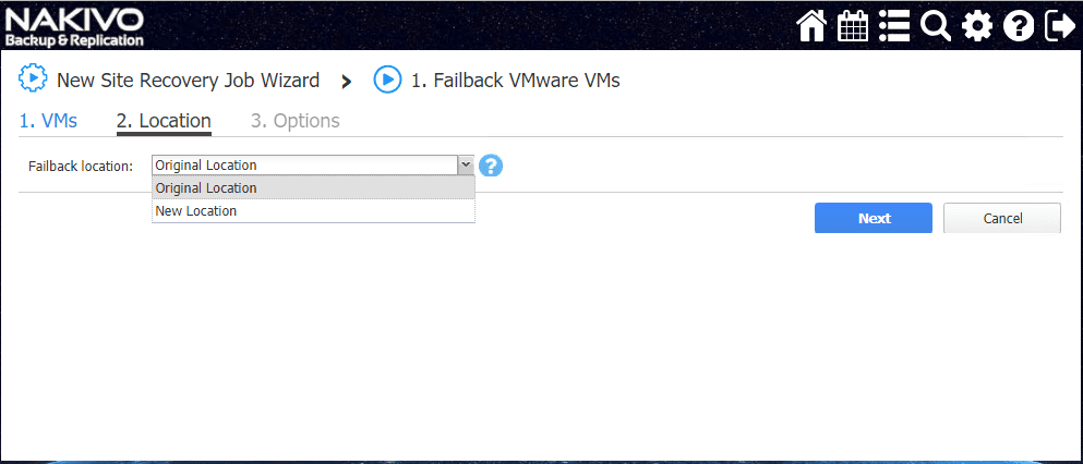 Failing-a-VMware-VM-back-to-the-original-location NAKIVO Backup and Replication v8.0 Released with Site Recovery Orchestration DR Testing
