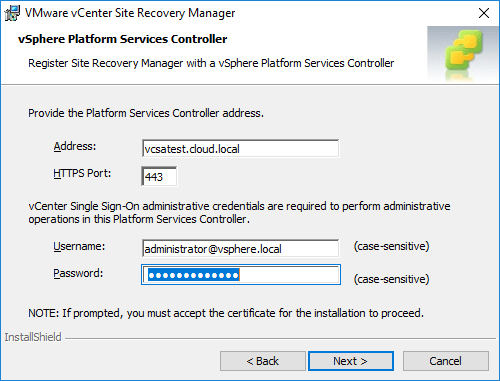 Platform-Services-Controller-configuration-during-vCenter-Site-Recovery-Manager-installation Installing VMware vCenter Site Recovery Manager SRM 8.1