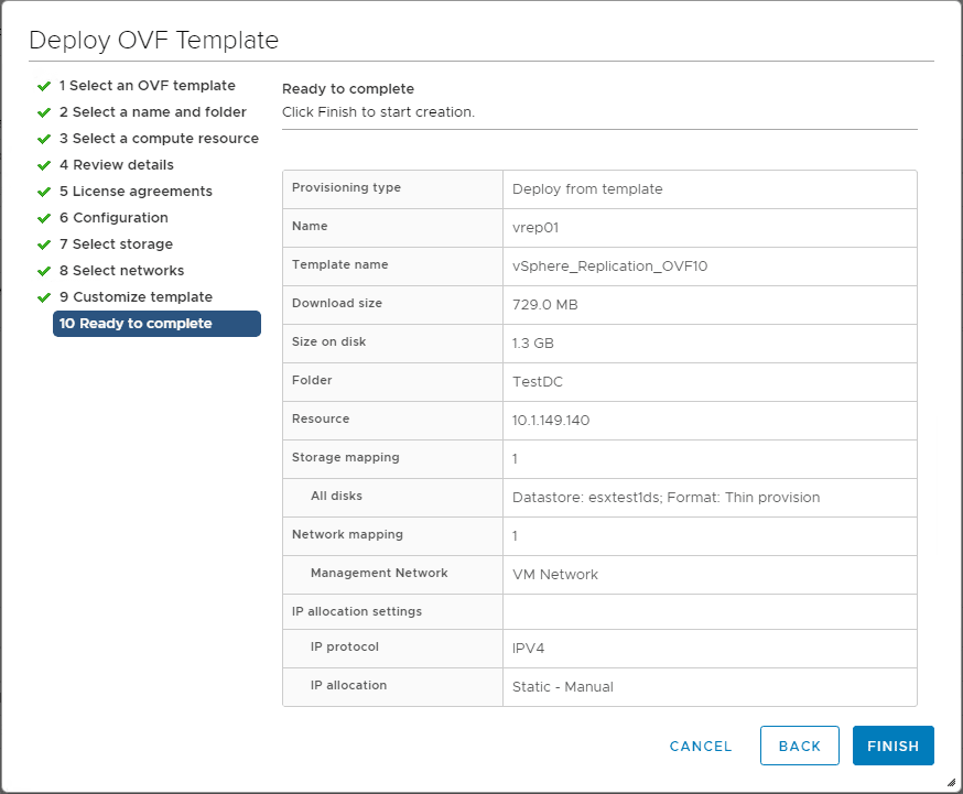 Ready-to-complete-the-vSphere-Replication-8.1-OVF-template-deployment Installing and Configuring VMware vSphere Replication 8.1 in vSphere 6.7