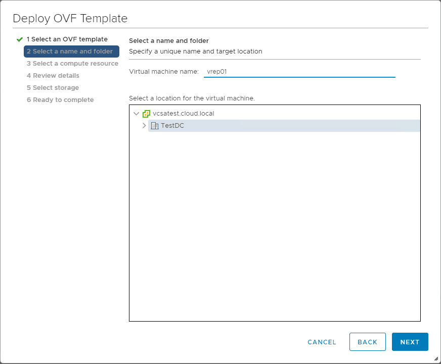 Select-the-name-and-folder-for-VMware-vSphere-Replication-8.1 Installing and Configuring VMware vSphere Replication 8.1 in vSphere 6.7