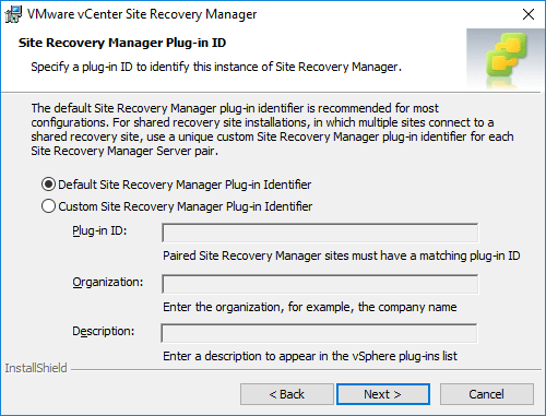 Specifying-a-plug-in-idenfication-for-Site-Recovery-Manager Installing VMware vCenter Site Recovery Manager SRM 8.1