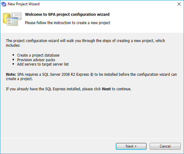 Starting-the-SPA-Project-Configuration-Wizard Monitoring Hyper-V Performance with Server Performance Advisor