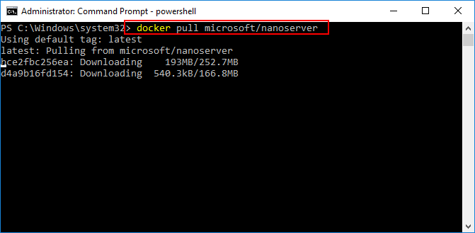 Use-Docker-to-Pull-down-the-Windows-Server-2016-Nano-Server-container-base-image Installing and Configuring Windows Server 2016 Hyper-V Containers