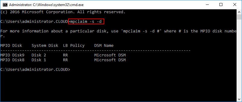 Using-mpclaim-to-check-MPIO-devices Hyper-V Cluster MPIO iSCSI Installation and Configuration