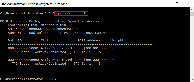 Using-mpclaim-to-verify-path-ID-state-SCSI-Address-and-Weight-for-specific-MPIO-device-in-Hyper-V Hyper-V Cluster MPIO iSCSI Installation and Configuration