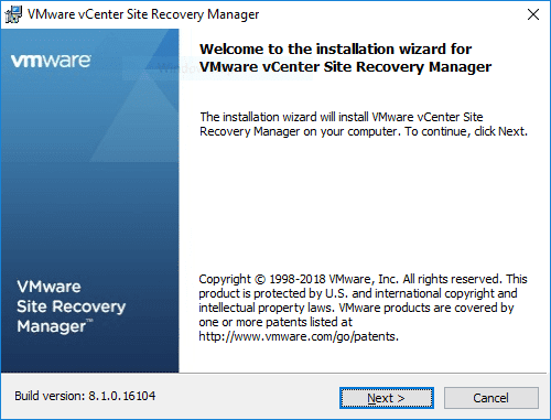 VMware-vCenter-Site-Recovery-Manager-Installation-Wizard-begins Installing VMware vCenter Site Recovery Manager SRM 8.1