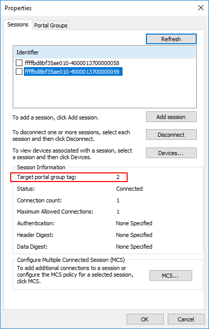 Verifying-the-second-portal-group-ID-for-MPIO-in-Hyper-V-iSCSI Hyper-V Cluster MPIO iSCSI Installation and Configuration