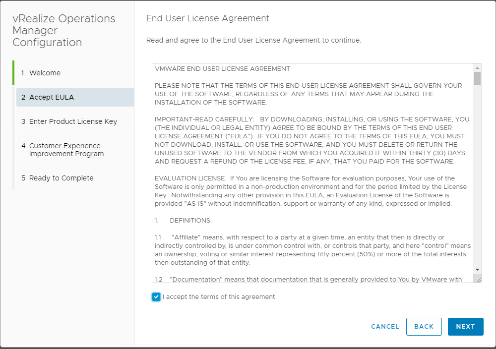 Accept-the-EULA-for-the-vRealize-Operations-Manager-7.0-configuration VMware vRealize Operations 7.0 New Features Installation and Configuration