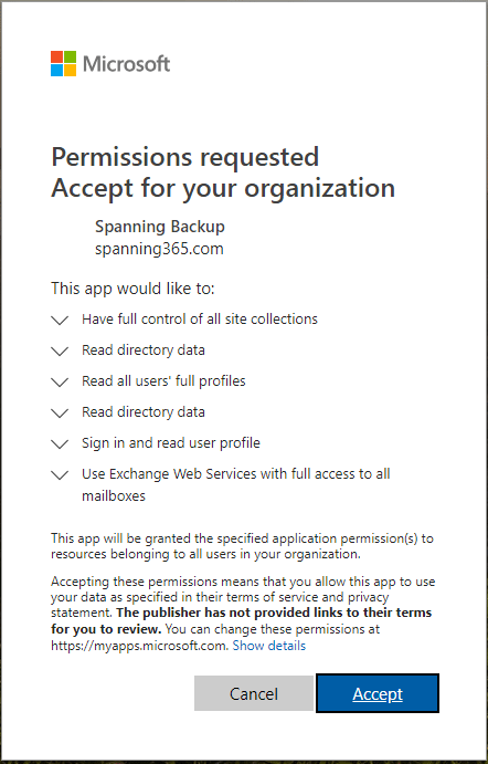 Accept-the-request-for-permissions-from-the-Spanning-app Choosing the Best Office 365 Backup Solution