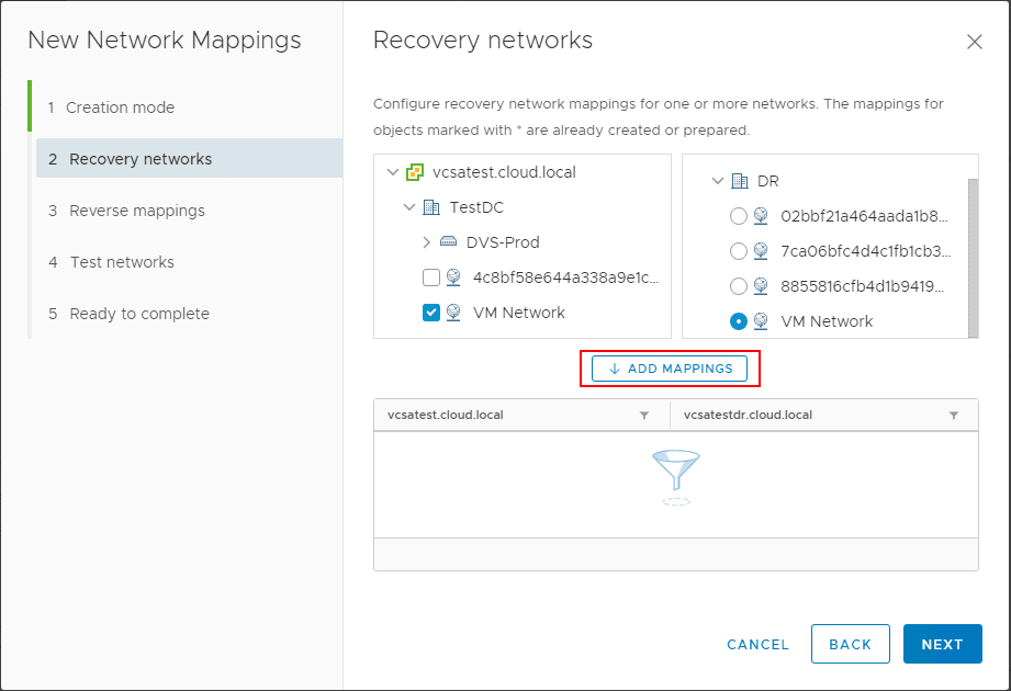 Adding-the-chosen-recovery-networks-in-the-network-mappings-wizard-in-SRM-8.1 Automating DR Recovery Site VM Network and IP Configuration with VMware SRM 8.1