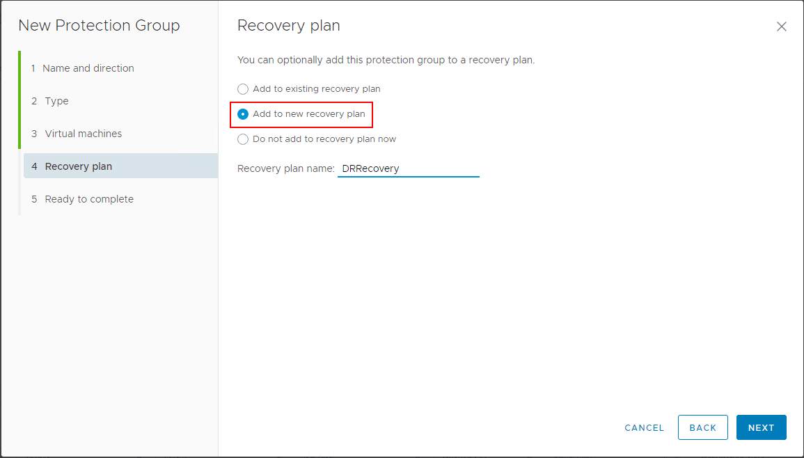 Adding-the-protection-group-to-a-new-recovery-plan-in-Site-Recovery-Manager Create VMware vSphere Site Recovery Manager 8.1 Replication Protection Group and Recovery Plan