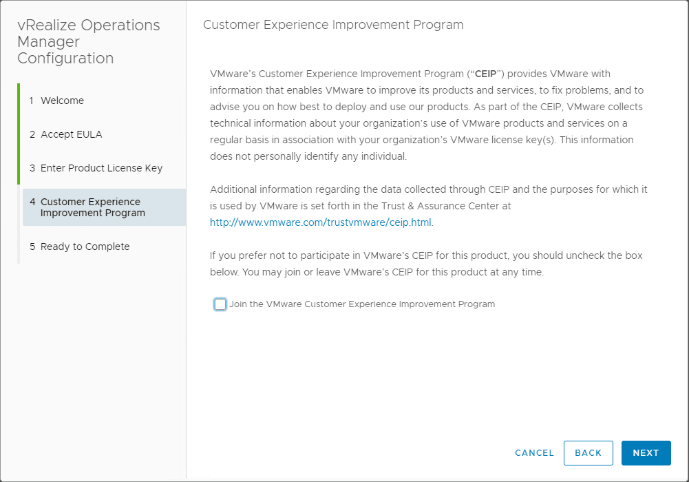 Choose-to-join-the-CEIP-program VMware vRealize Operations 7.0 New Features Installation and Configuration
