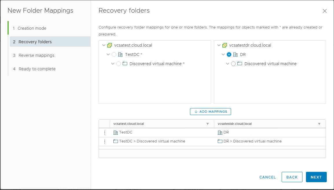 Creating-Folder-Mappings Create VMware vSphere Site Recovery Manager 8.1 Replication Protection Group and Recovery Plan