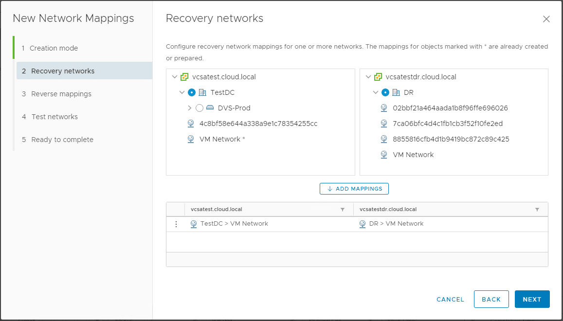 Creating-Recovery-Networks-Mappings Create VMware vSphere Site Recovery Manager 8.1 Replication Protection Group and Recovery Plan