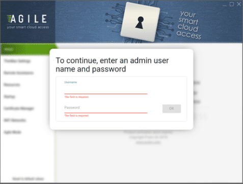 Entering-the-admin-credentials-for-the-Agile-Configurator