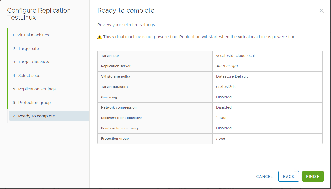 Finishing-the-replication-configuration-in-Site-Recovery-Manager-8.1 Create VMware vSphere Site Recovery Manager 8.1 Replication Protection Group and Recovery Plan